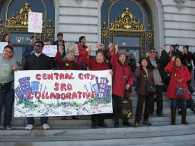 Photo of SDA demonstrating for housing rights with the SRO Collaborative