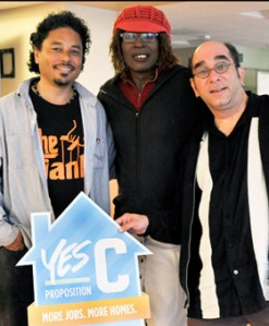"""Photo of SDA staff with placard reading """"Yes on C for Housing Rights"""""""