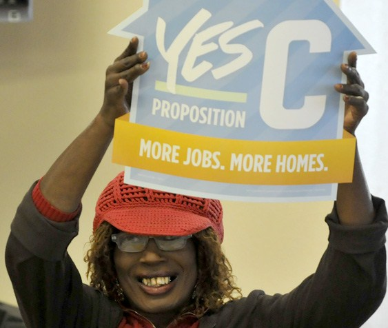 Jazzie Collins showing support for affordable housing in SF