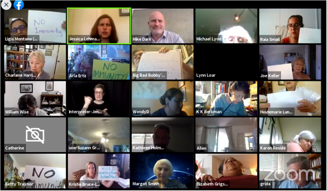 Screenshot of a Zoom video conference meeting with many attendees.